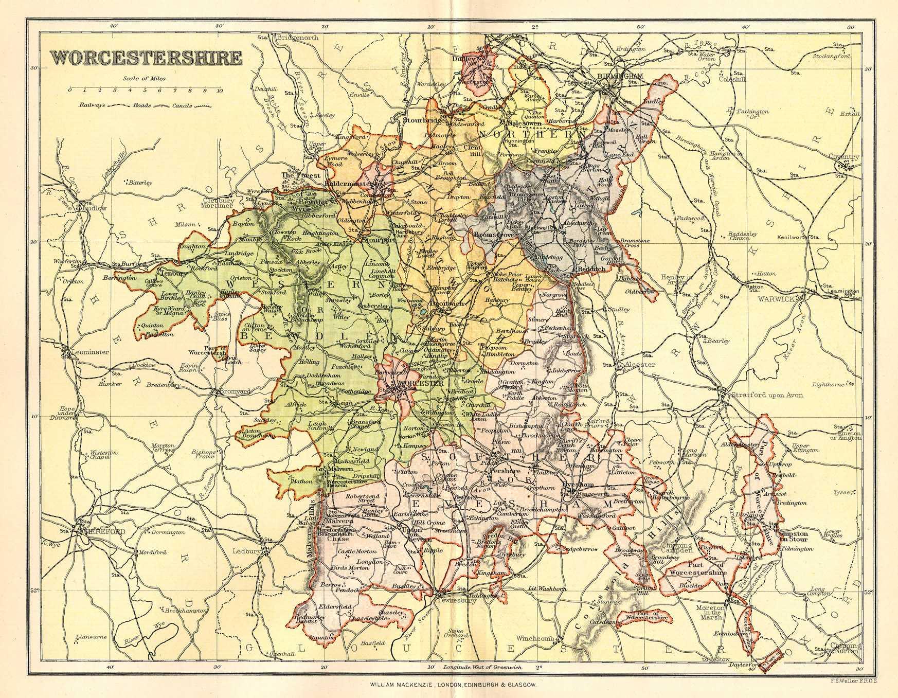 Historical Description Of Worcestershire England - Historic maps england